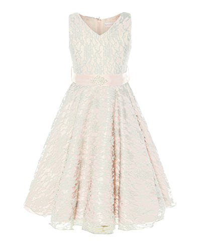 Loel Girls Sleeveless Flower Girl Dress with Belt