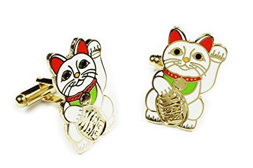(Maneki Neko Lucky Cat Japanese Talisman Suit Wedding CUFFLINKS Cuff Links Set Pair)