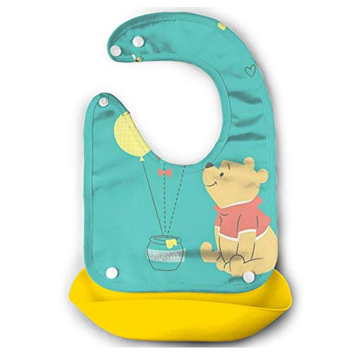 JINUNNU Baby Bib Winnie Pooh Waterproof Feeding Bibs for Babies and Toddlers with Comfort-Fit Fabric Neck