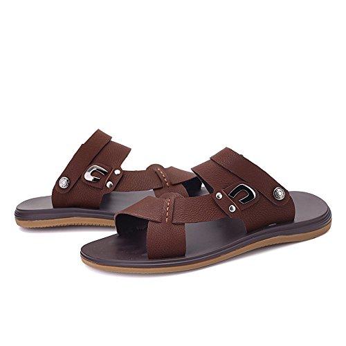in 43 Marrone EU da BINODA Open Nero Color schienale regolabili senza da uomo Sandali spiaggia antiscivolo Dimensione ecopelle Pantofole Toe Sandali suola SqH1I