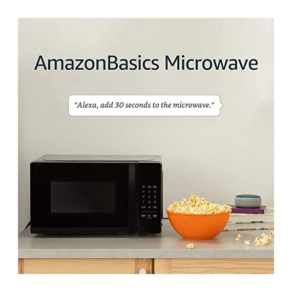 Amazon Basics Microwave bundle with Echo Dot (3rd Gen) - Charcoal 4 Now it's easier to defrost vegetables, make popcorn, cook potatoes, and reheat rice. With an Echo device (not included), quick-cook voice presets and a simplified keypad let you just ask Alexa to start microwaving. Automatically reorder popcorn when you run low and save 10% on popcorn orders-enabled by Amazon Dash Replenishment technology Compact size saves counter space, plus 10 power levels, a kitchen timer, a child lock, and a turntable.