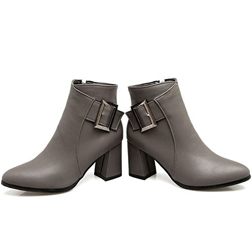 Ankle with KemeKiss Dress Boots Fashion Zipper 002 Grey High Women aqSwS4xfT