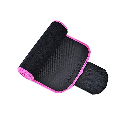(Pausseo Waist Slimming Burn Fat Sauna Sweat Loss Weight Trimmer Exercise Belt Embossed Leather Trimmer Slimming Body Shaper Sport Girdle Breathable Carrying Running for Men & Women (Hot Pink, M))