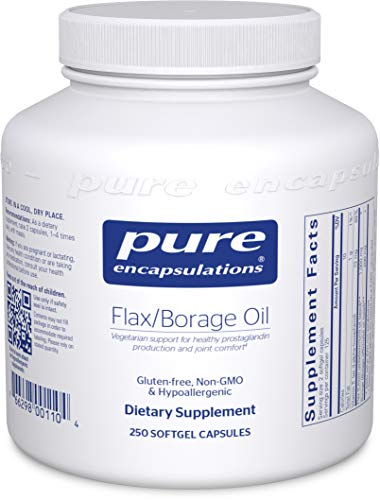 Pure Encapsulations – Flax/Borage Oil – Hypoallergenic Supplement Containing 50% Omega-3 and 22% GLA – 250 Softgel Capsules For Sale