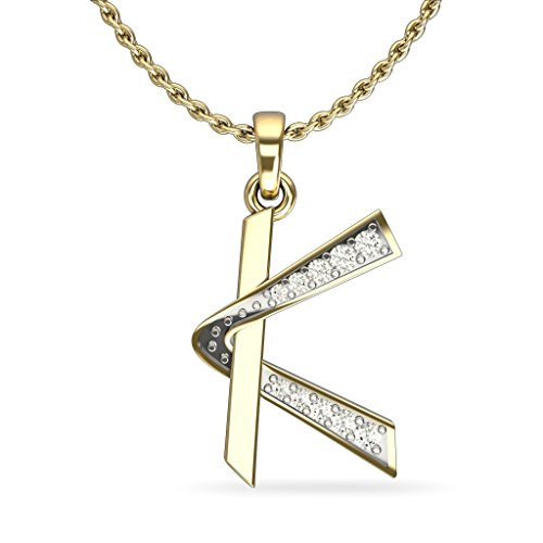 JewelsForum Women's 14 Kt Yellow Gold Diamond Pendant Initial 0.06 Ct HI I1/I2