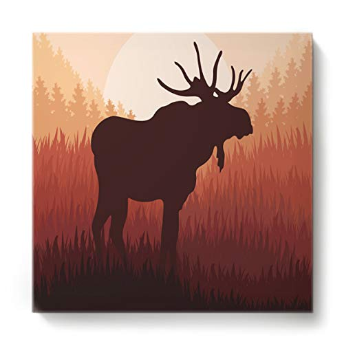(GreaBen Modern Canvas Wall Art Square Oil Painting Home Decor for Office Hotel,The Shadow of Moose Animal Pattern Canvas Artworks,Stretched by Wooden Frame,Ready to Hang,24 x 24 Inch)