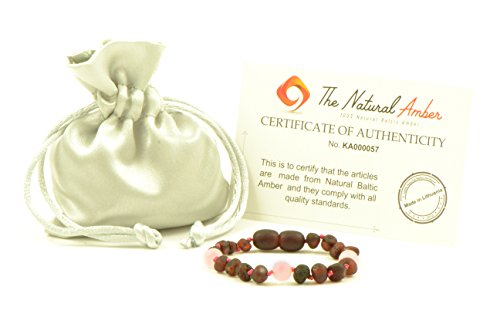 Baltic Amber Teething Bracelet/Anklet Mixed with Quartz Beads- Hand-Made from Certified Natural Baltic Amber Beads (4.7 inch (12cm), Raw Cherry/Quartz)