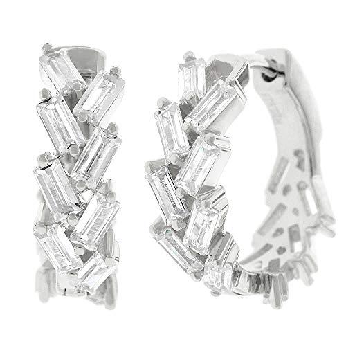 .925 Sterling Silver Womens Fancy Clear CZ Baguette Cubic Zirconia Stone Round Huggie Hoop Earrings (White)