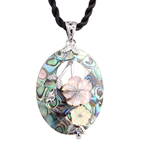 Luckeyui Oval Abalone Necklace for Women Sea Shell Flower Pendant Jewelry with Black Rope Chain ()