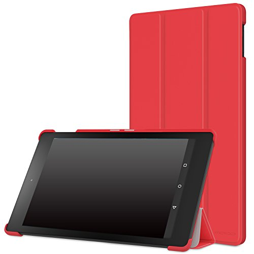 """MoKo Case for Fire HD 8 2015 [Previous 5th Gen ONLY] - Ultra Lightweight Slim-shell Stand Cover with Auto Wake/Sleep for Amazon Kindle Fire HD 8"""" Display Tablet (NOT FIT Fire HD 8 2016), RED"""