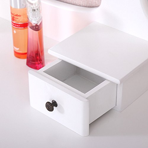 Winmart Vanity Wood Makeup Dressing Table Stool Set Jewelry Desk bathroom with Drawer Mirror White by Winmart (Image #3)