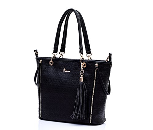 Store Closing Sale!!! Siena Sophisticated Dual Shape Pebble Leatherette Tote with Tassel TT015 (Black) by Siena Collections