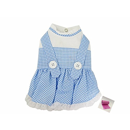 "Auntie Em Costumes (Dorothy (Wizard of Oz) Blue Gingham Dog Dress Costume with Bags - Dog Size (M – Chest 16-18.5"", Neck 12"", Back 12.5"", Blue Gingham))"