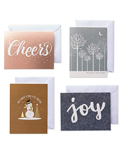 American Greetings 6027131 Metallic Medley Assorted Christmas Boxed Cards with White Envelopes, - Medley Christmas Joy