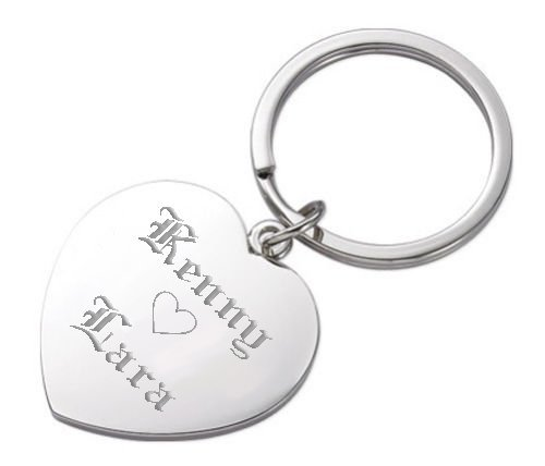 Personalized Silver Heart Keychain Engraved -