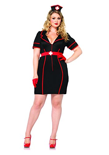 [Leg Avenue Women's Plus-Size 3 Piece Naughty Night Nurse, Black/Red, 3X/4X] (Womens Plus Halloween Costumes)