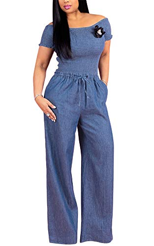 t for Women - Juniors Off The Shoulder Smocked Bodice Wide Leg Loose Romper Long Pants Small Blue ()