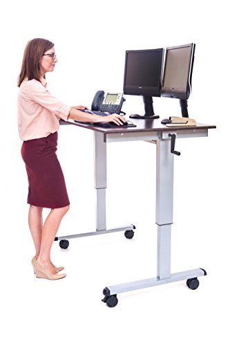 LUXOR Standup-CF48-DW Stand Up Desk, Crank Adjustable, 48