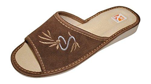 Bosaco Comfort Slippers En Cuero Genuino Para Mujer Zapatos De Casa Dark Olive-v2