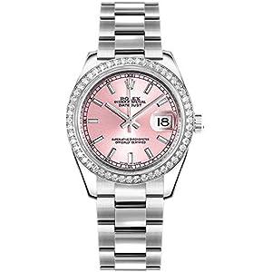 Best Epic Trends 41BXKV2EiBL._SS300_ Women's Rolex Datejust 31 Pink Dial Diamond Bezel Luxury Watch 178384