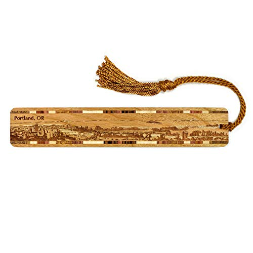 Portland Oregon Skyline Engraved Wooden Bookmark with Tassel - Also Available Personalized
