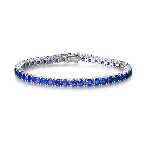 FANCIME White Gold Plated High Polished 925 Sterling Silver Round Cut Created Blue Sapphire Wedding Bridal Prom Tennis Bracelet For Women Girls, 7.5