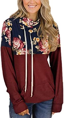 Women Floral Print Stitching Pockets Fall Drawstring Hoodies Pullover