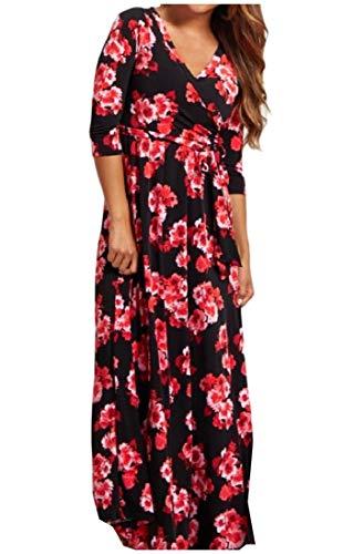 Howme-femmes Imprimé De Fleurs À Manches Longues Col V Sur Longue Robe Maxi Taille 1