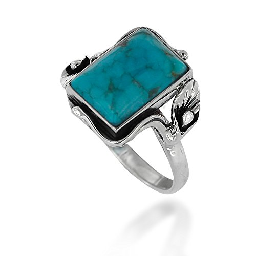 925 Oxidized Sterling Silver Blue Turquoise Gemstone Rectangle Ring, Size 6