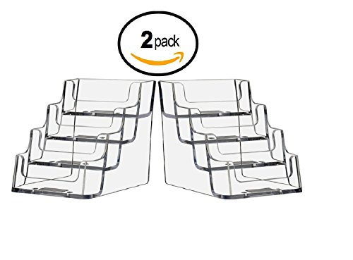 T'z Tagz Brand CLEAR 4 Pocket Business Card Holder, Holds 2