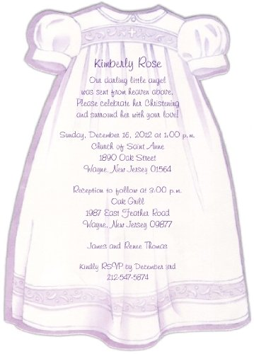 (Purple Christening Gown Baptism Christening Invitations - Set of 20)
