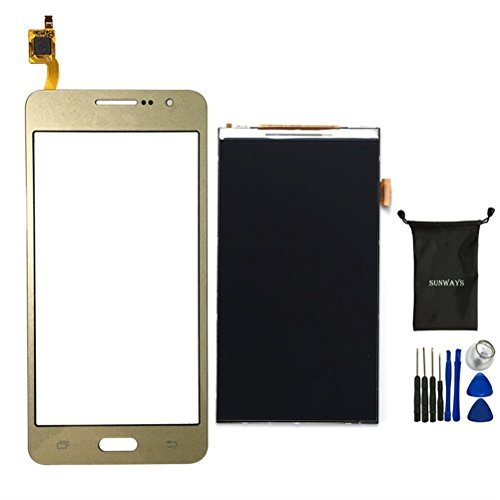 sunways Touch Digitizer Glass Lens Screen Replacement(Gold) + LCD Display Digitizer Screen Replacement for Samsung Galaxy Grand Prime G530 G530F G5308 【Not for G531】