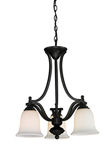 Z-Lite 703-3-MB Lagoon Three Light Chandelier, Steel Frame, Matte Black Finish and Matte Opal Shade of Glass Material
