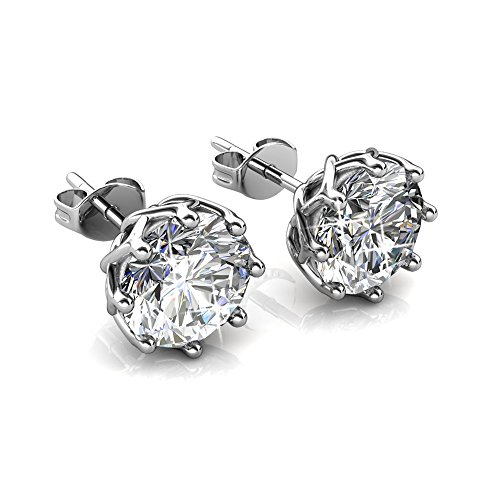 Cate & Chloe Eden Pure 18k White Gold Earrings with Swarovski Crystals, Sparkling Silver Stud Earring Set w/Solitaire Round Diamond Crystals, Beautiful Wedding Anniversary Jewelry MSRP - $119