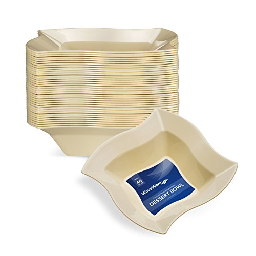- WAVEWARE PLASTIC PARTY DISPOSABLE BOWLS | 5 Ounce Ivory Hard Square Wedding Plastic Bowls, 40 Pack | Elegant Fancy Heavy Duty Party Supplies Dessert Plates for Holidays & Occasions