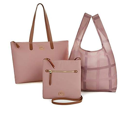 JOY Mangano Luxe Genuine Leather Handbag, Chic Crossbody Plus Shopper Tote ~ Blush Pink ()