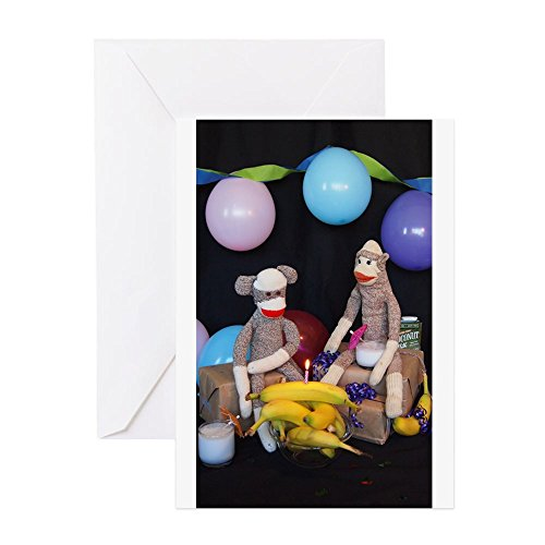 (CafePress - The Birthday Party - Sock Monkey Greeting Cards - Greeting Card (20-pack), Note Card with Blank Inside, Birthday Card Glossy)