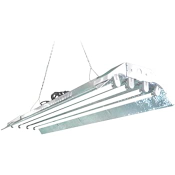 T5 Grow Light (4ft 4lamps) DL844s Ho Fluorescent Hydroponic Fixture Bloom Veg Daisy Chain with Bulbs
