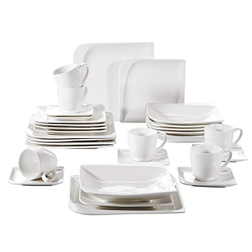 Vancasso 30 Pieces Ivory White Porcelain Dinnerware Set of Cups Saucers Dinner Plates Dessert Plates Soup Plates Service for 6 ()