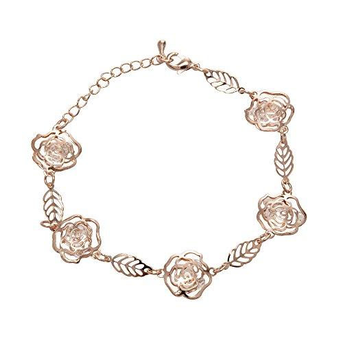 Chiconon Women Girls Adjustable Alloy Flowers Leaves Wrist Link Chain Bracelet (Gold Flower Link)