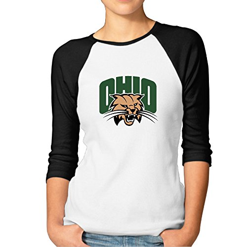 EVALY Women's Cute Ohio University Bobcats 3/4-Sleeve Raglan T - Nerd Taylor Swift