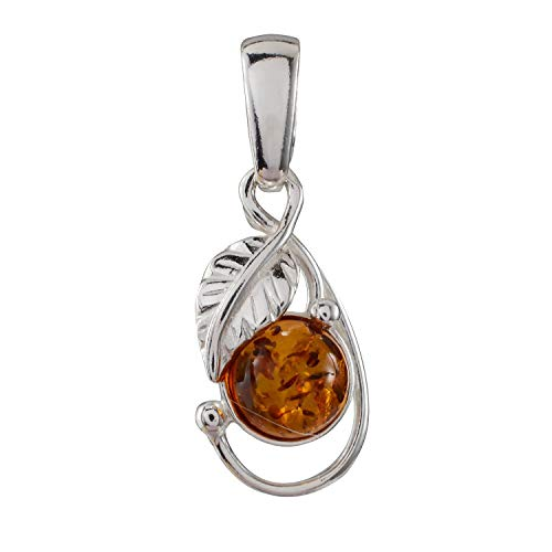 HolidayGiftShops Sterling Silver and Baltic Honey Amber Leaf Pendant ()