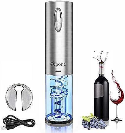 Diseño elegante: el atractivo abridor de vino eléctrico integrado luces LED azules se encienden auto
