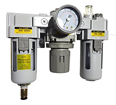 "PneumaticPlus SAU3000M-N03DG 3 Unit Combo Compressed Air Filter Regulator Lubricator, 3/8"" Pipe Size, NPT-Auto Drain, Poly Bowl with Gauge"