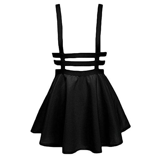 Femme Jupe Plisse avec Bretelle Taille lastique Jupe Patineuse Noir