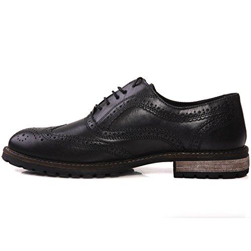"""Unze Mens """"barrow"""" estilo de las correas formales atan para arriba los zapatos Tamaño BRITÁNICO 7-11 Negro"""