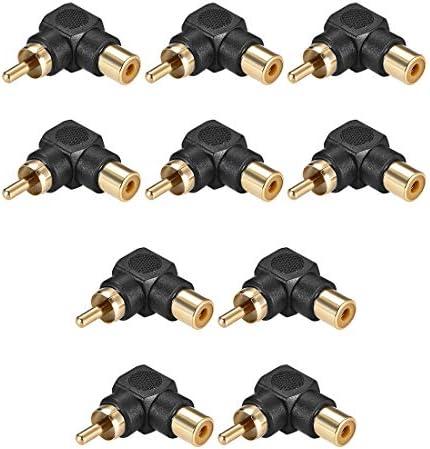 uxcell RCAオス-メスコネクタ 90度 ステレオオーディオビデオケーブルアダプターカプラー 10個