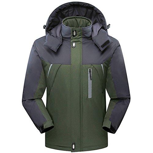 CROTI Men's Ski Jackets Waterproof Windproof Fleece Jackets Mountain Hooded Jackets Outdoors Winter (M, Green)