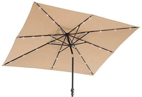 Sun-Ray 811027 9 x7 Rectangular 8-Rib Solar Patio Umbrella, 32 LED Lights, Crank and Tilt, Aluminum Frame, Taupe Beige