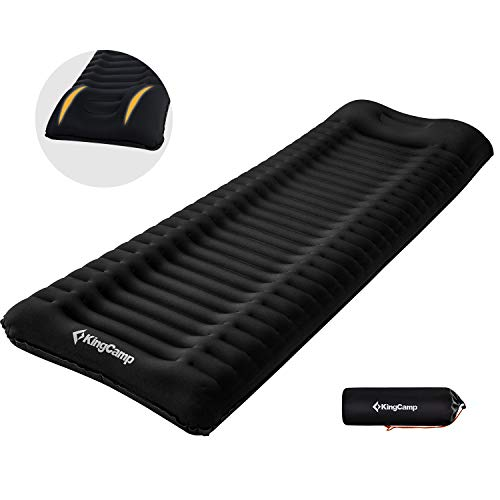 KingCamp Lightweight Comfortable Sleeping Pad 3.9 Inches Thick Mat with Attached Pillow Prevention of Rollover